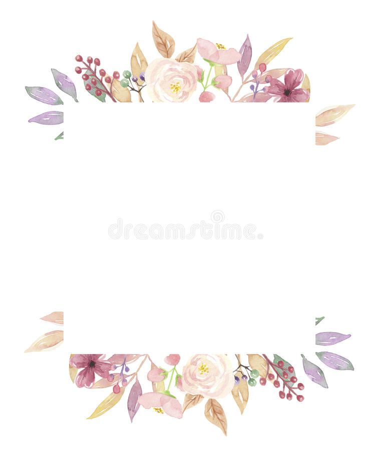 Watercolor Berries Frame Square Leaves Flowers Spring Summer Berry ...