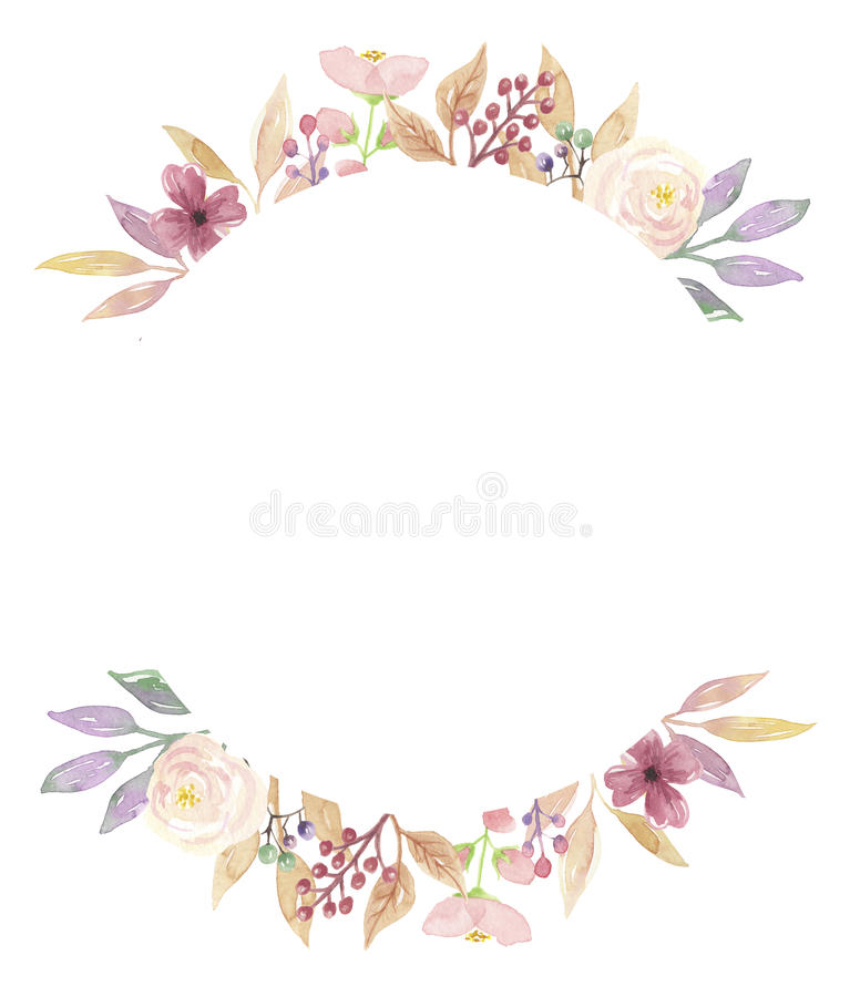 Download Watercolor Berries Frame Wreath Flowers Garland Pink Purple Leaf Stock Illustration