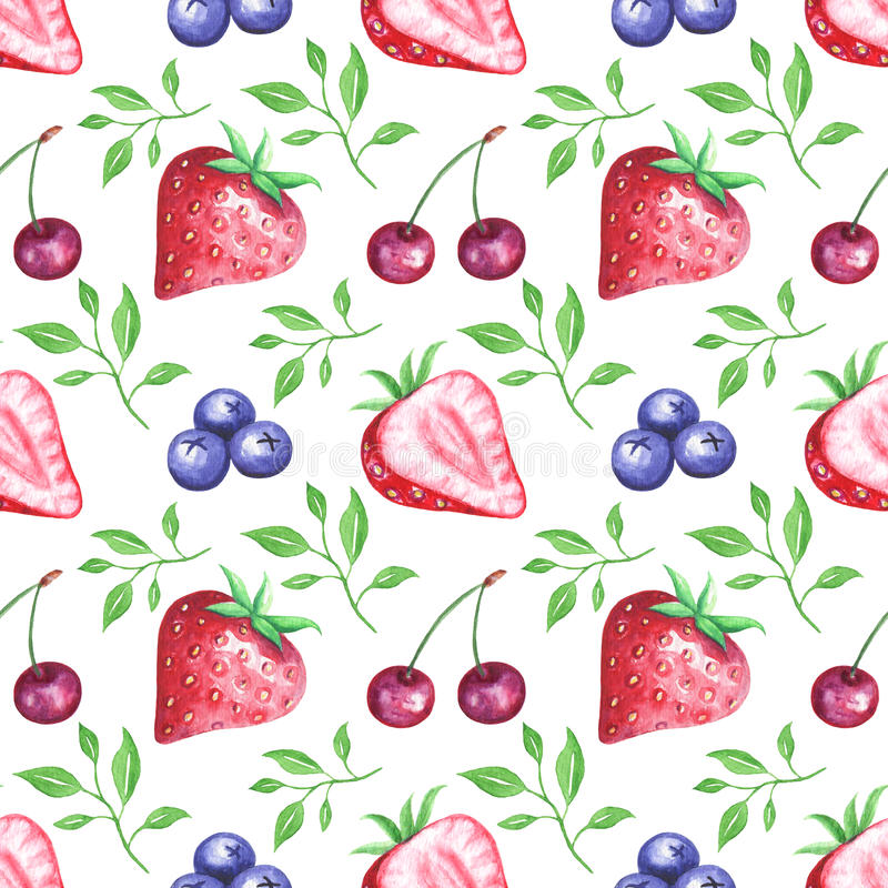 Watercolor berries seamless pattern royalty free illustration