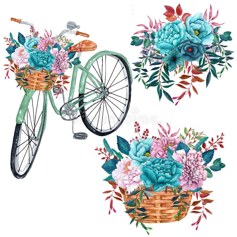 Watercolor Bicycle with Bouquets of teal flowers isolated on white background stock photo