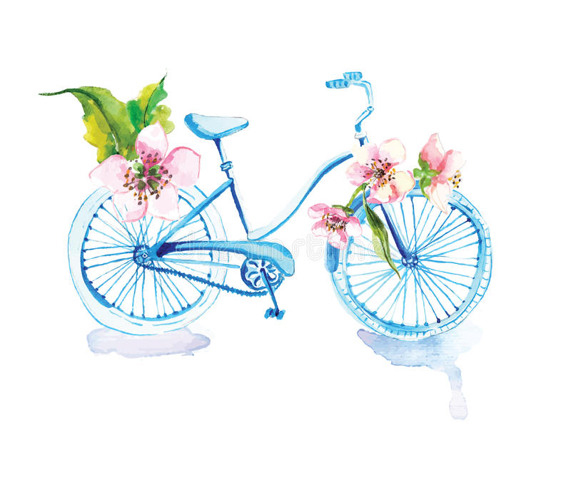 Watercolor bicycle with flowers royalty free illustration