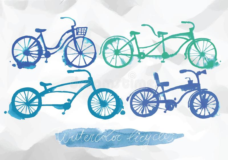 Watercolor bicycle set vector illustration
