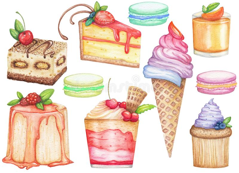 Watercolor big set of desserts. Hand drawn illustration. With ice, sweet cakes, muffin, macaroon isolated on white background stock illustration