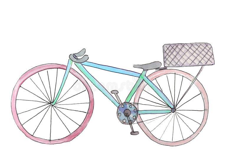 Watercolor bike with a basket. raster illustration for design royalty free illustration