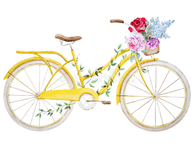 Watercolor bike bicycle stock illustration