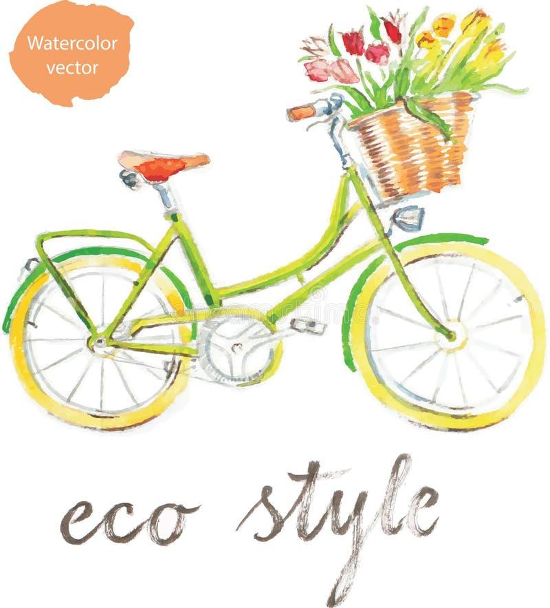 Watercolor bike vector illustration