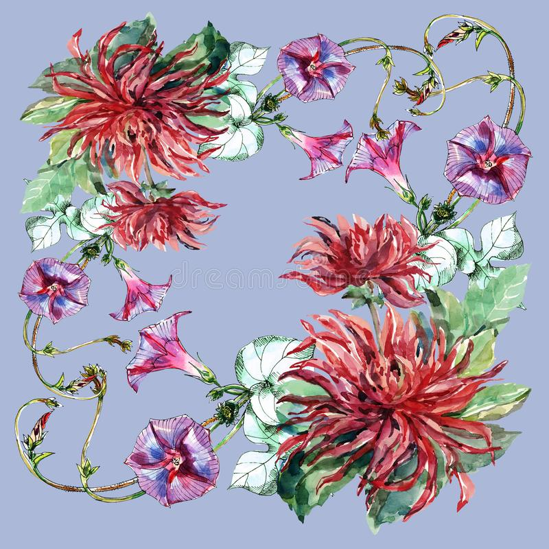 Watercolor bindweed with red dahlia. Floral pattern for design on a blue background. vector illustration