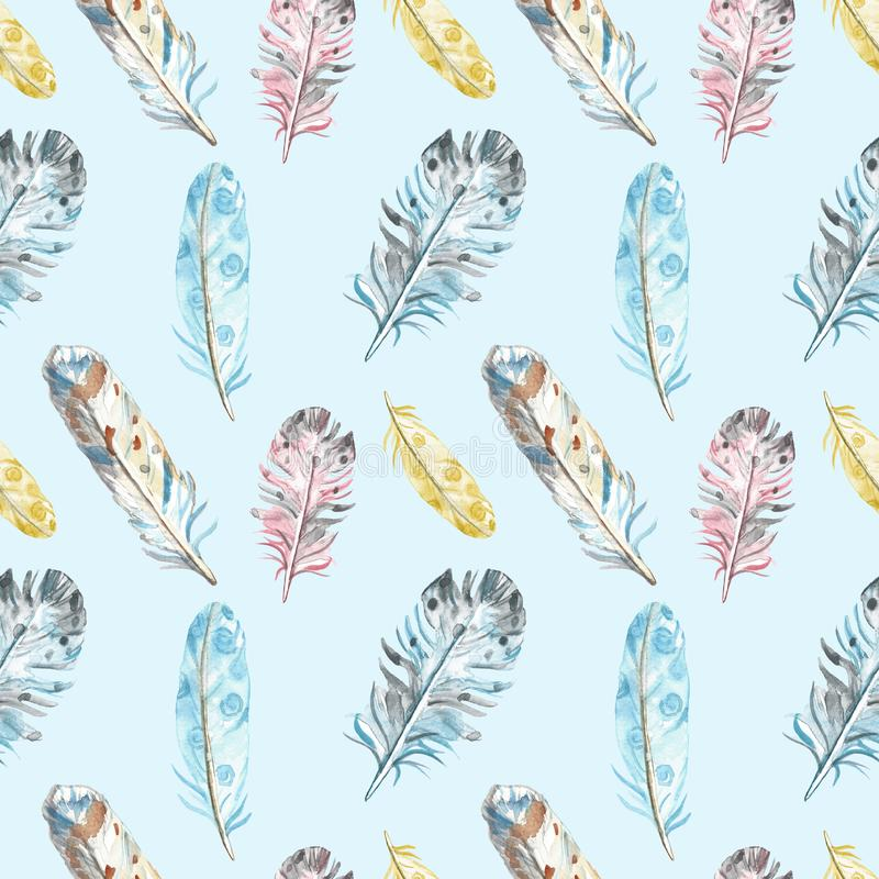 Watercolor bird feathers seamless pattern in pastel colors on blue background. stock illustration