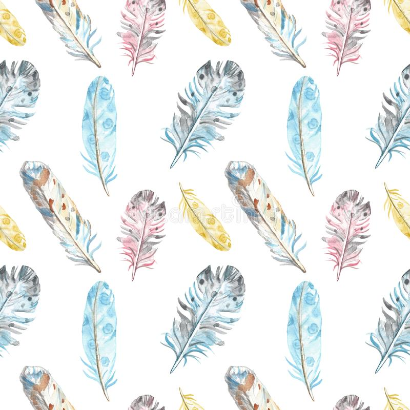 Watercolor bird feathers seamless pattern in pastel colors on white background. Hand drawn ethnic tribal illustration royalty free illustration