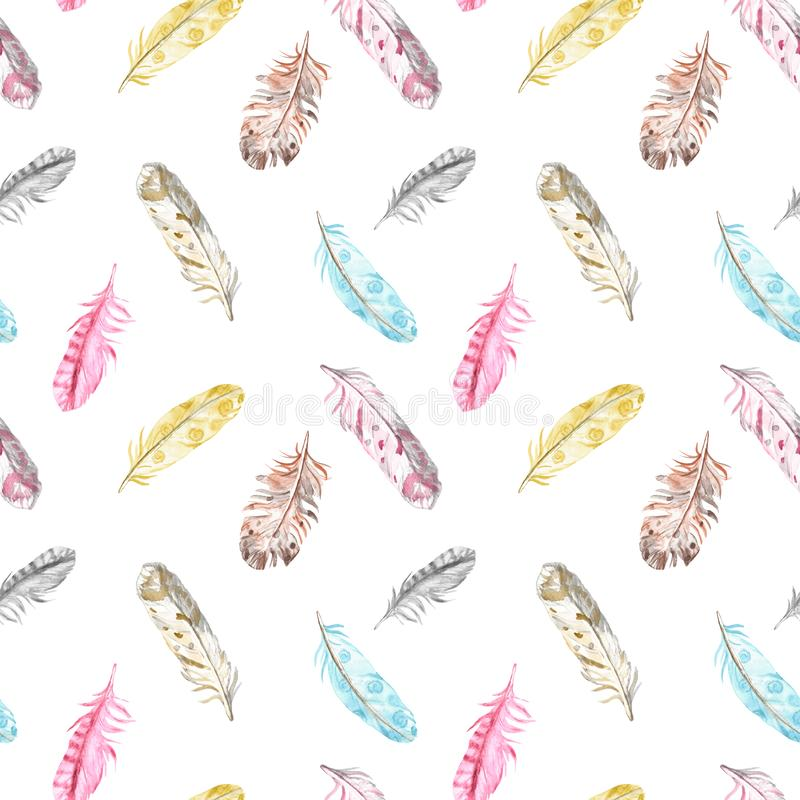 Watercolor bird feathers seamless pattern in pastel colors on white background. Hand drawn ethnic boho illustration royalty free illustration