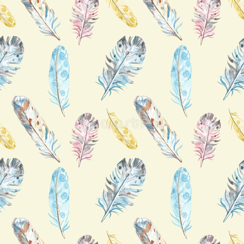 Watercolor bird feathers seamless pattern in pastel colors on yellow background. Hand drawn ethnic tribal illustration in boho sty stock illustration