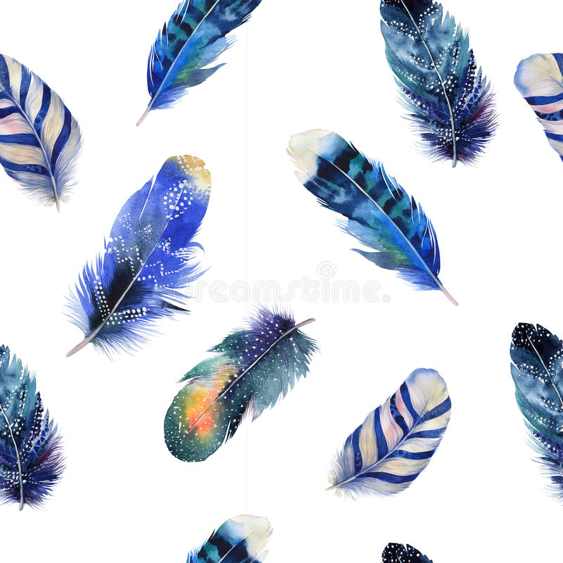 Watercolor birds feathers boho pattern. Seamless royalty free illustration