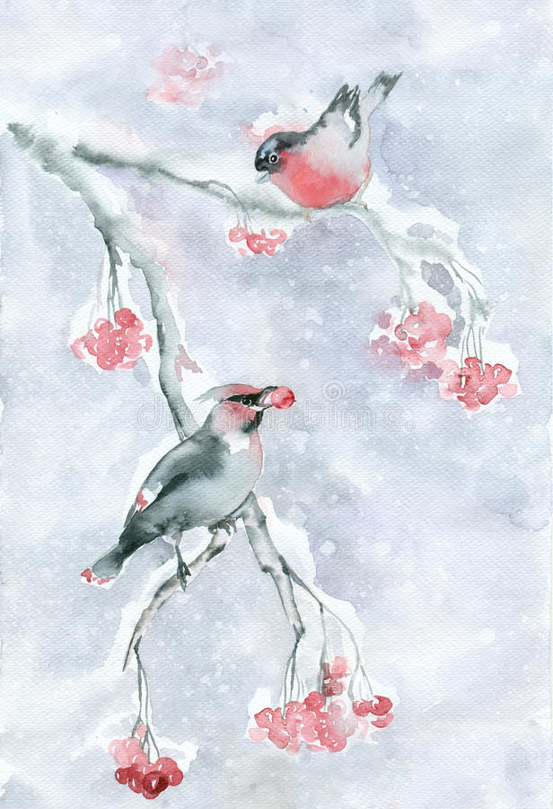 Download Watercolor Birds In Winter. Stock Illustration - Image: 83707615