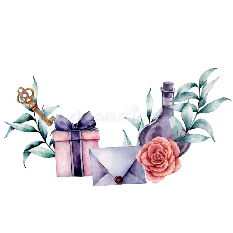 Watercolor birthday decor card with envelope, gift box and rose bouquet. Hand painted eucalyptus leaves, bottle, key. Isolated on white background. Holiday royalty free illustration