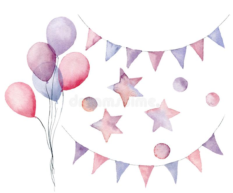 Watercolor birthday set with pastel elements. Hand painted air balloons, flag garlands, stars and confetti isolated on stock illustration