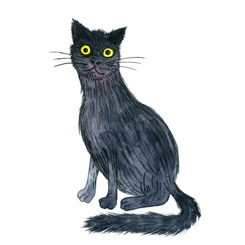 Watercolor Black Cat Stock Illustration Illustration Of Danger