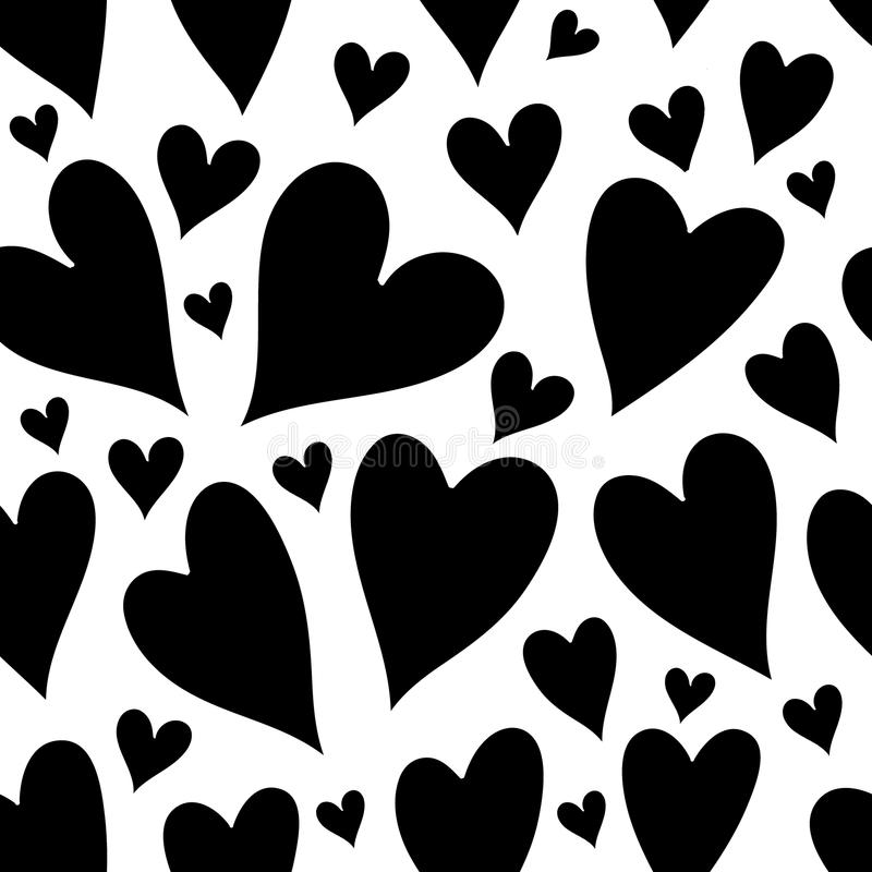 Watercolor black hearts seamless pattern. Seamless pattern of pink hearts. Valentines day background vector illustration