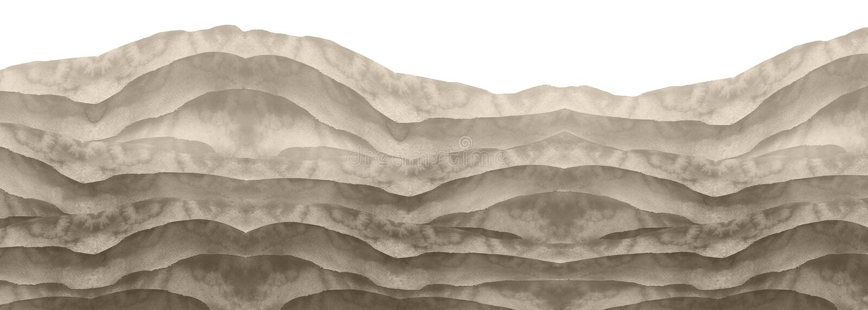 Watercolor black and white hill, hillock, grass. Desert, sand. Summer, autumn landscape on white isolated background. Summer land vector illustration
