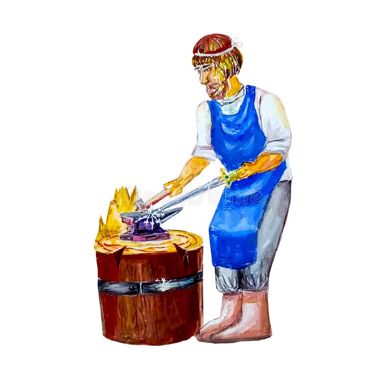 Watercolor blacksmith of the Middle Ages forges with a hammer on the anvil of the sword.  on white background. Character stock illustration