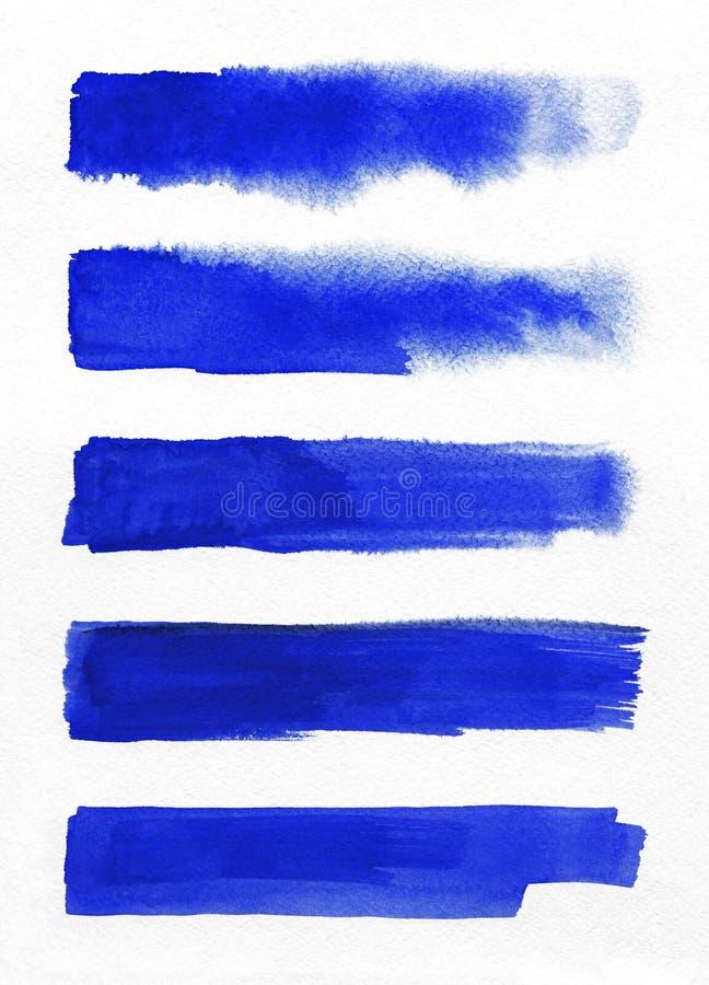 watercolor Blaue Zusammenfassung malte Tintenanschläge eingestellt auf Aquarellpapier Tintenanschläge Flach netter Bürstenschlagm stockfoto
