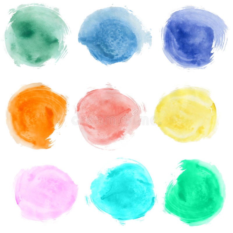 Watercolor blobs. Set of watercolor blobs, isolated on white background royalty free stock image