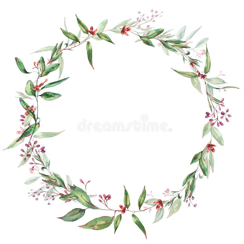 Watercolor Blooming Eucalyptus Wreath, Natural Round Frame, Wedding Invitation stock illustratie