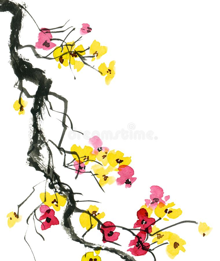 Watercolor blossom tree. Watercolor and ink illustration of blossom tree branch with flowers, oriental traditional painting in style sumi-e, u-sin, artistic royalty free stock photography