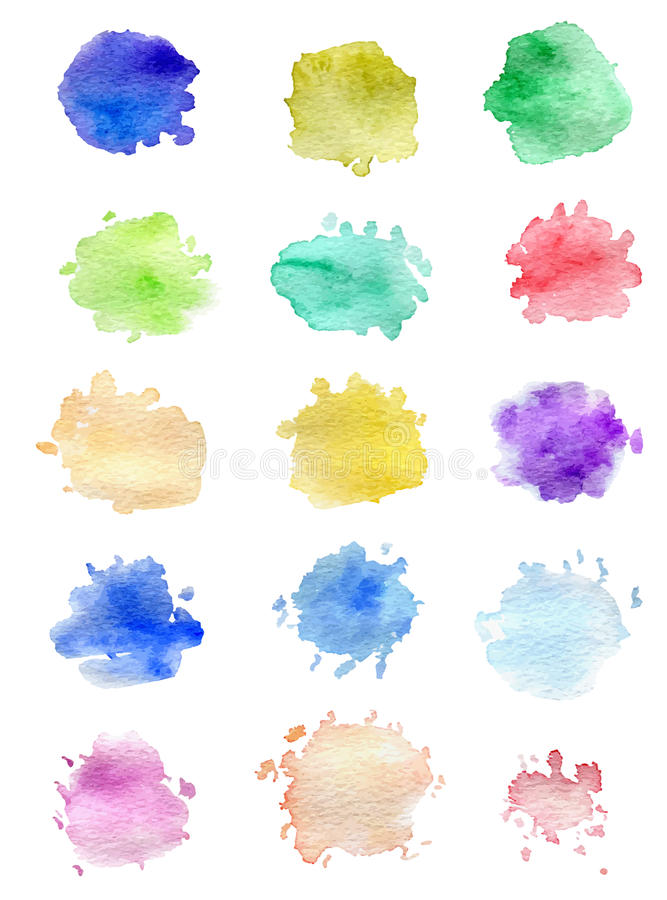 Watercolor blots for design. Set of abstract vector watercolor blots for design stock illustration