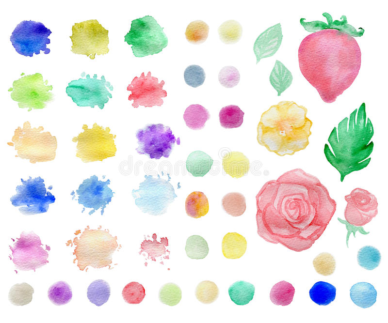 Watercolor blots and elements. Set of abstract watercolor blots and elements for design stock illustration