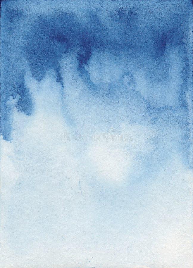 Watercolor blue background. Navy flow. Watercolor blue abstract background. Navy flow painted stock illustration