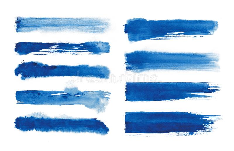 Watercolor. Blue abstract painted ink strokes set on watercolor paper. Ink strokes. Flat kind brush stroke. royalty free stock photo