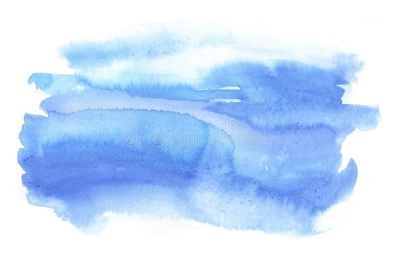Watercolor blue abstract shape. Template for the design of posters, invitations, cards. stock illustration