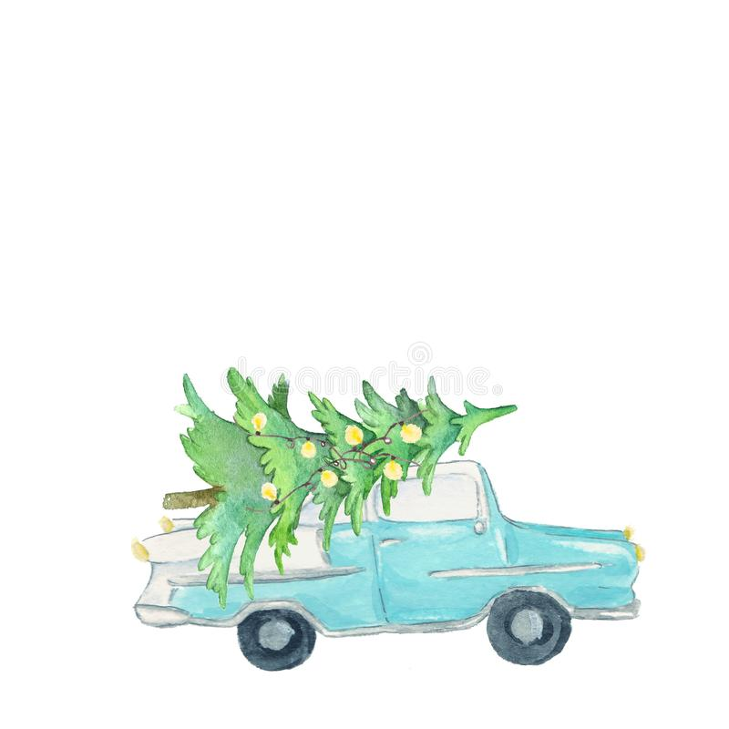 Watercolor blue american style car with christmas tree lights, christmas decoration. Watercolor blue american style car with christmas tree and  lights royalty free illustration