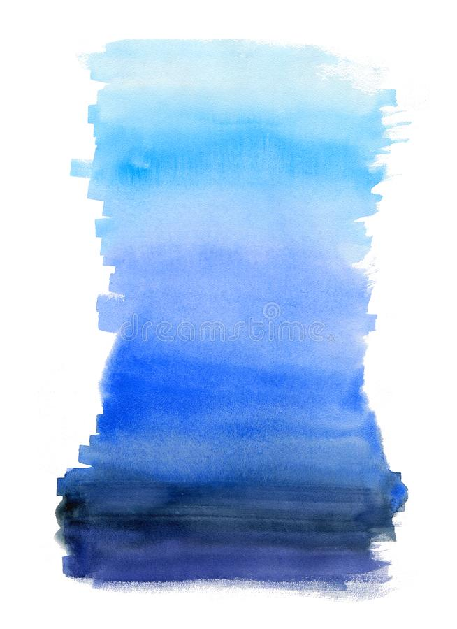 Watercolor blue background. Hand drawn vertical aquarelle texture for creation your design on card stock illustration