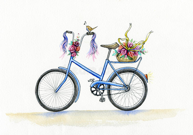 Watercolor blue bicycle royalty free illustration