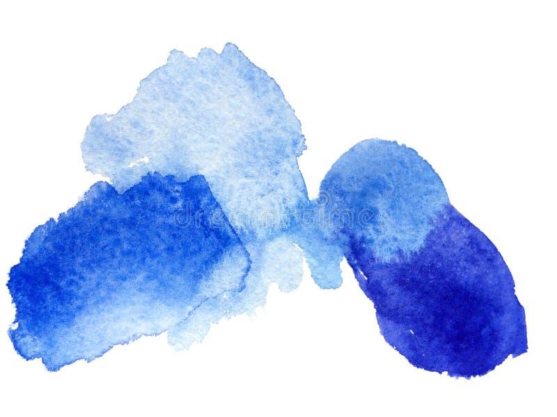Watercolor blue blot and splash stock photo