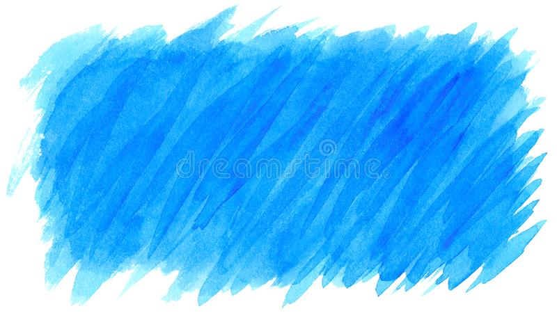 Watercolor blue brush strokes background design isolated.  royalty free stock photo