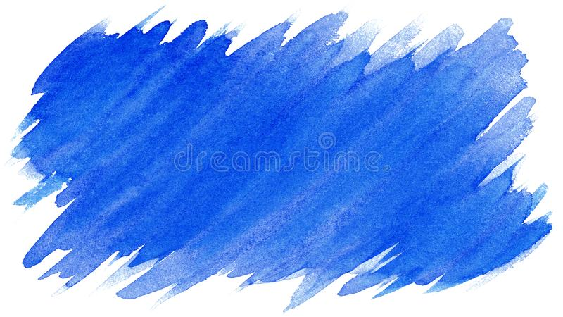 Watercolor blue brush strokes background design isolated.  stock photo