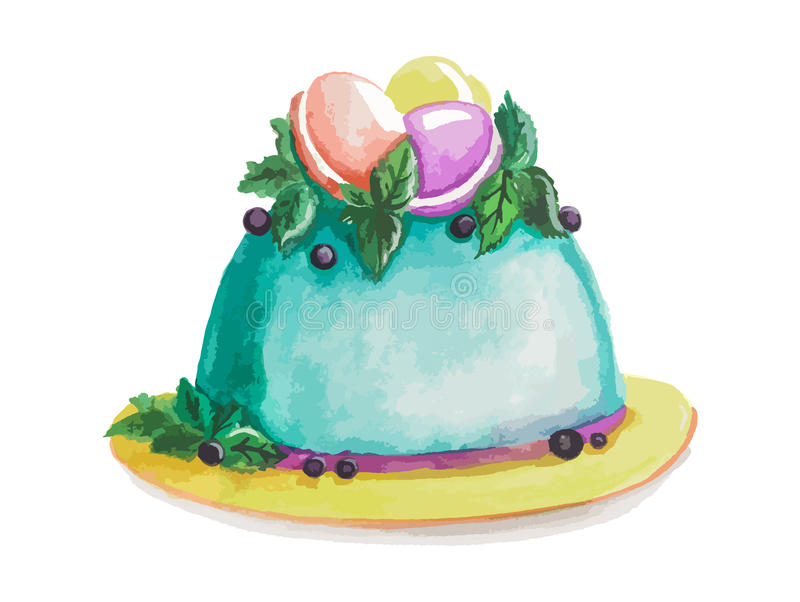 Watercolor blue cake. Isolated watercolor blue cake on white background. Holiday cake for celebration or a meal in restaurant menu vector illustration
