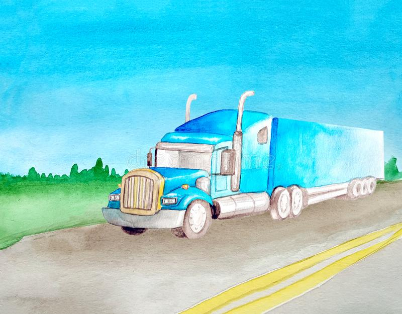 Watercolor blue cargo tractor rides on the background of the landscape from the asphalt gray road with two continuous stripes. The. Field in the background vector illustration