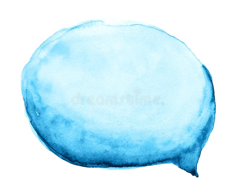 Watercolor blue cloud, speech bubble isolated on white background. Watercolor hand drawn blue cloud, speech bubble isolated on white background royalty free illustration