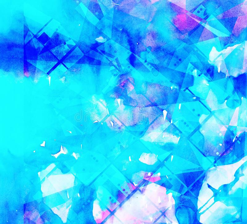 Watercolor blue  colorful geometric didgital abstract  background royalty free illustration