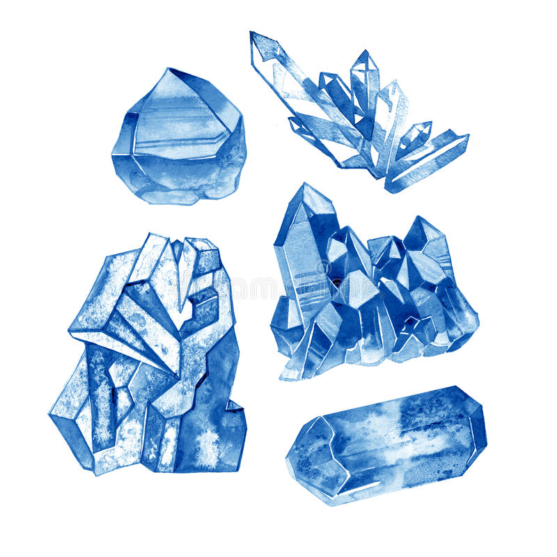 Watercolor blue crystal gems collection. Hand painted illustration with minerals isolated on white background. royalty free illustration