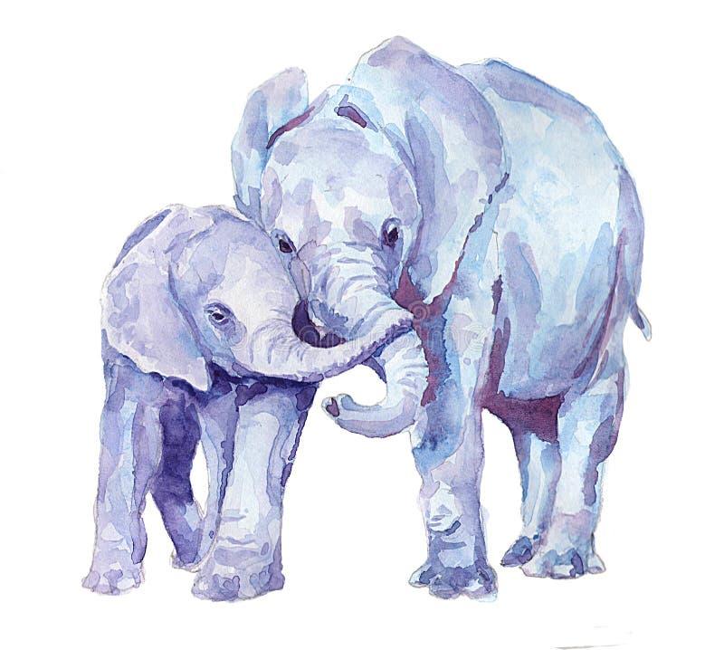 Family of elephants. Watercolor. Watercolor blue elephants. Illustration for children`s publications. Family stock illustration