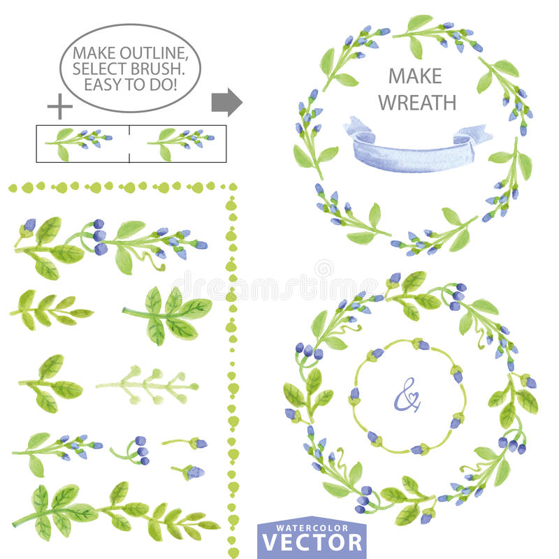 Watercolor blue floral brushes and wreath set template vector illustration