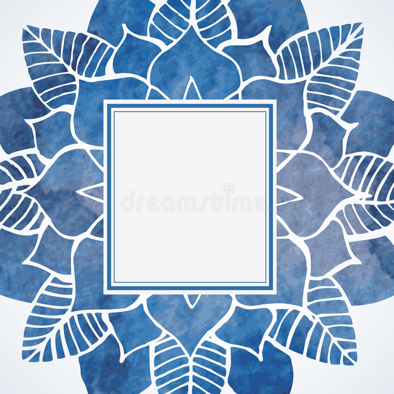 Watercolor blue frame with lace floral pattern. Vector element vector illustration