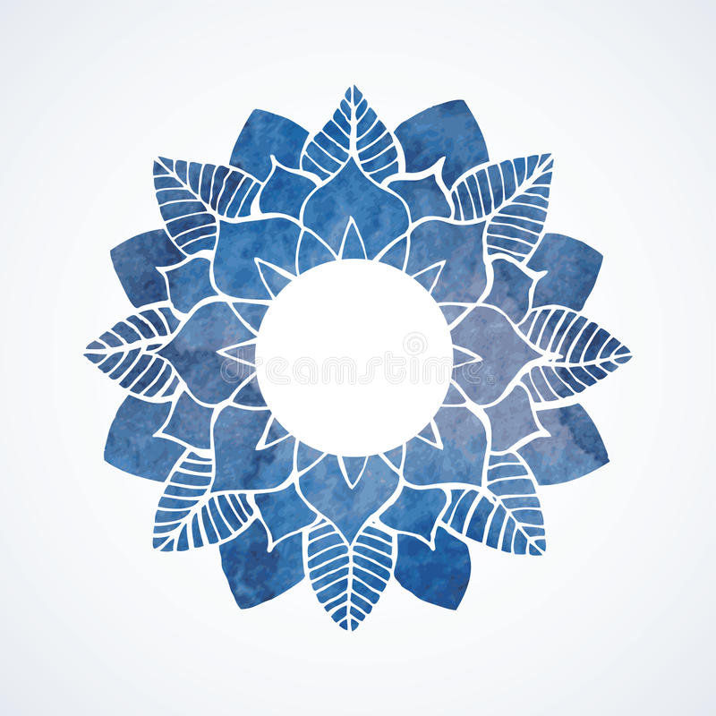 Watercolor blue frame with lace floral pattern. Vector element stock illustration