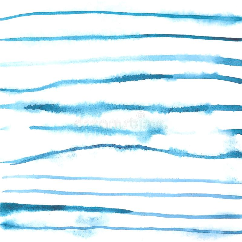 Watercolor blue free hand lines background stock illustration