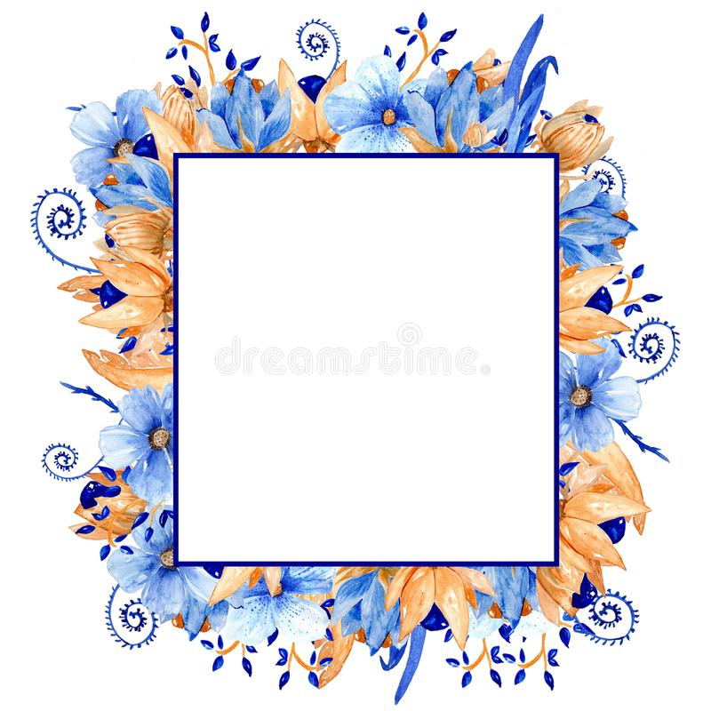 Watercolor blue and gold floral frame. Gold Blue watercolor frame! royalty free stock images