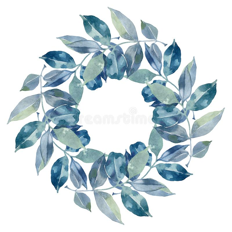 Watercolor blue and green circular floral frame. stock illustration